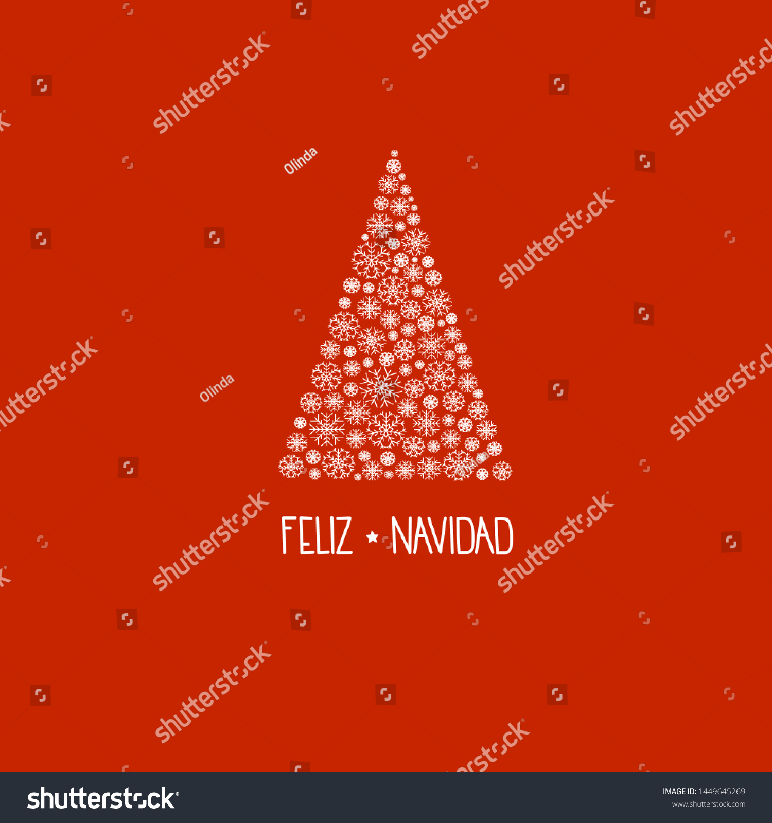 stock vector spanish hand lettering feliz navidad merry christmas on greeting card with fir tree made of white 1449645269