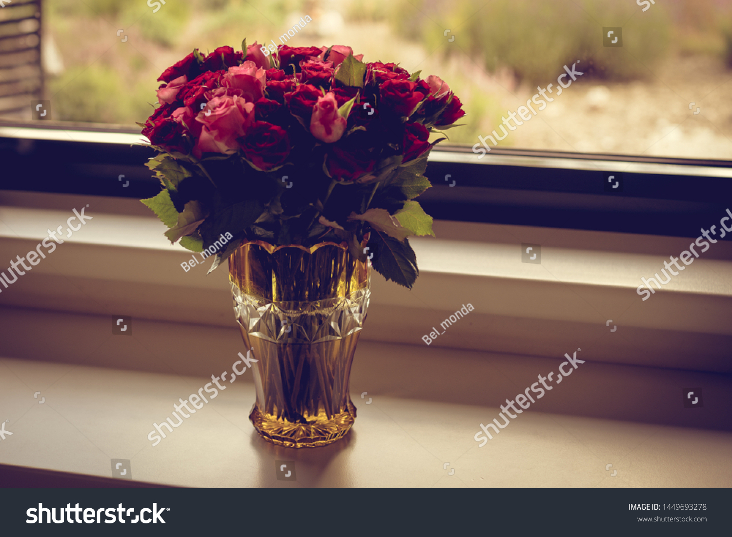 Bouquet Red Pink Roses Arranged Glass Stock Photo Edit Now 1449693278