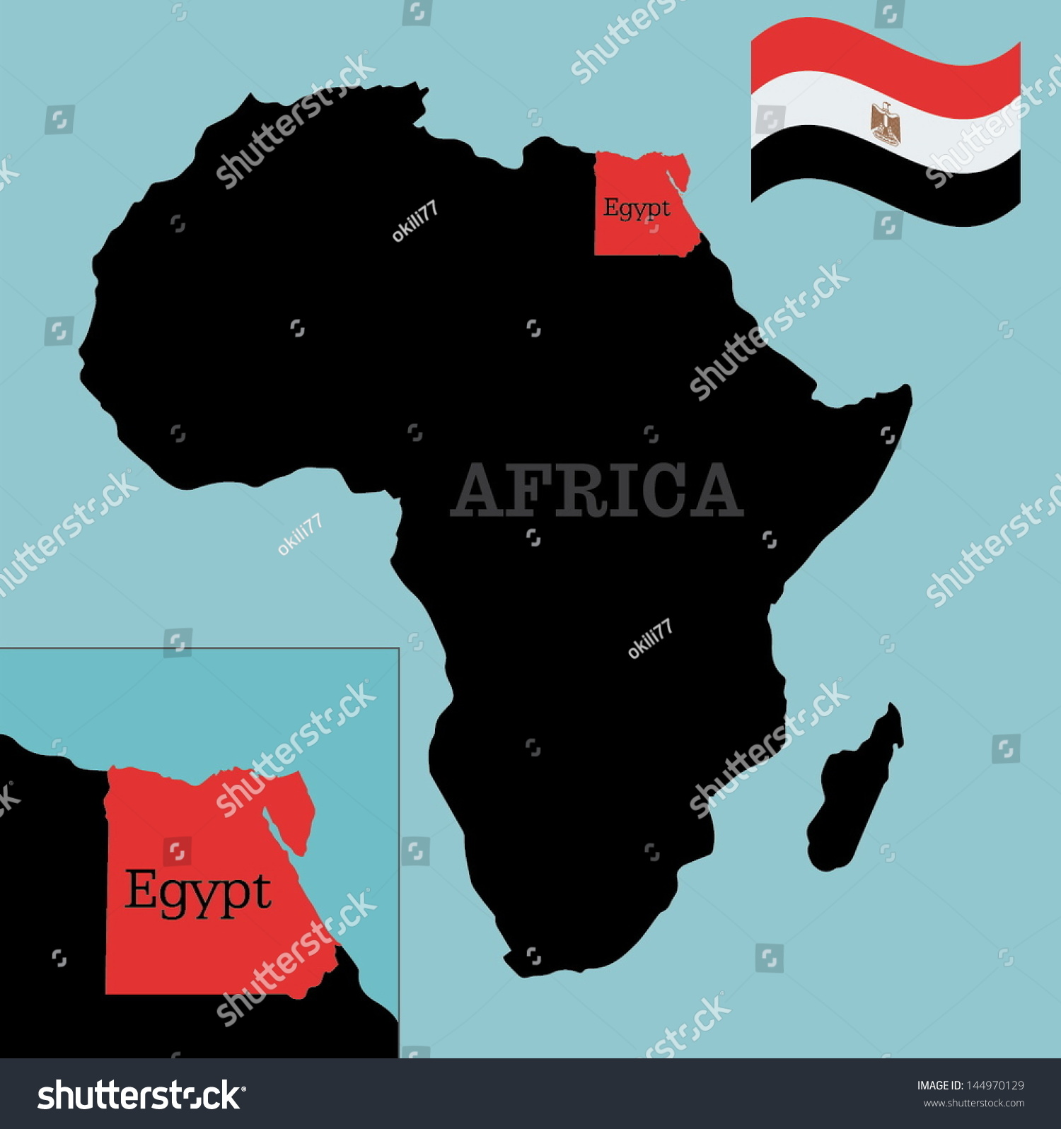 Image of: Egypt Map Flag On Africa Map Stock Vector Royalty Free 144970129