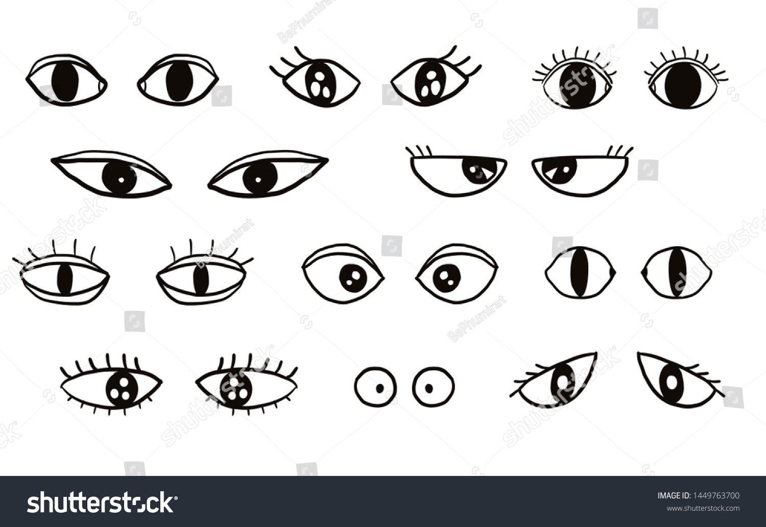 Illustration Cartoon Eyes Drawing Black Ink Stock Illustration