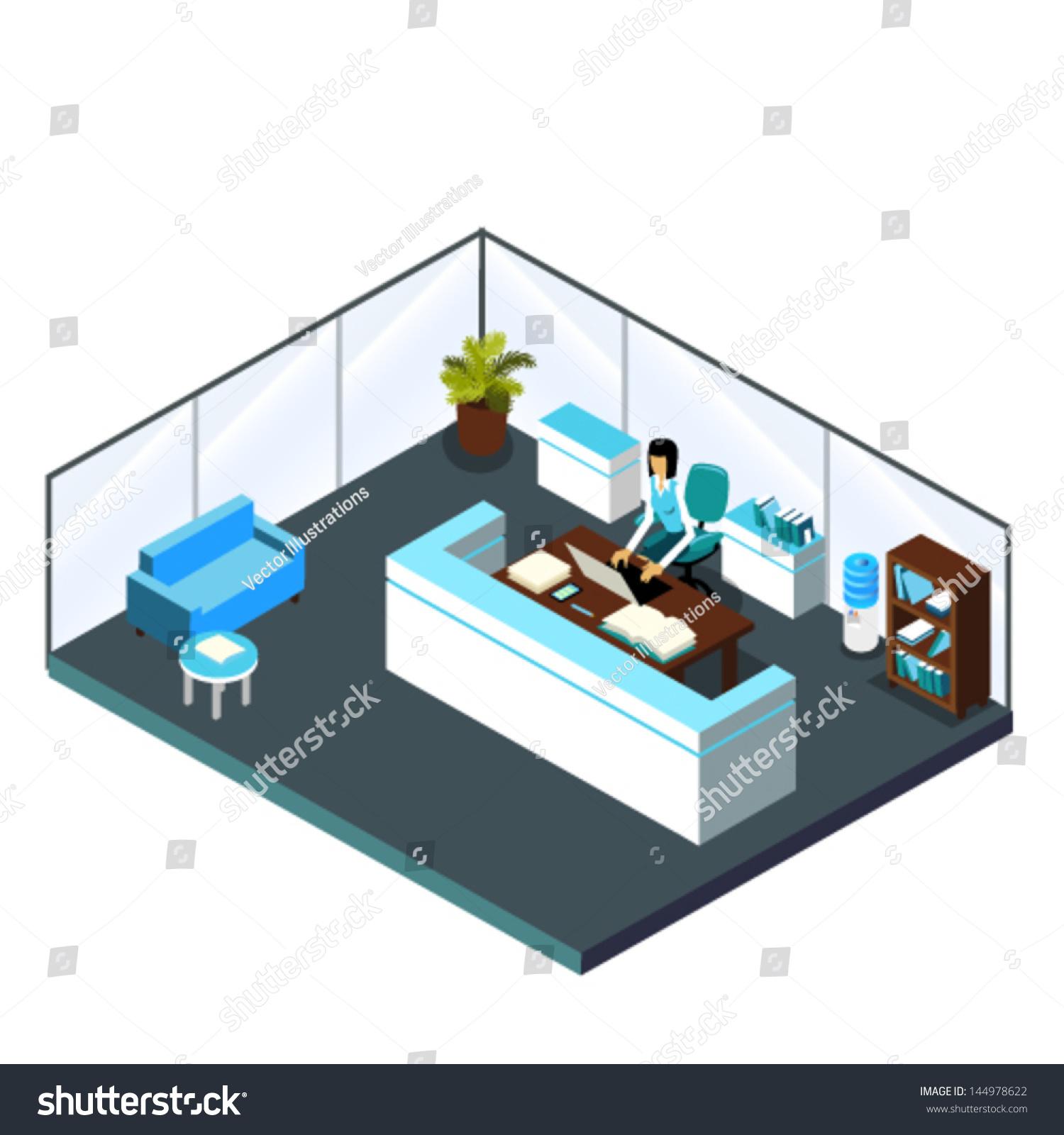 3d Floor Plan Isometric: 3d Isometric Blue White Reception Interior Stock Vector
