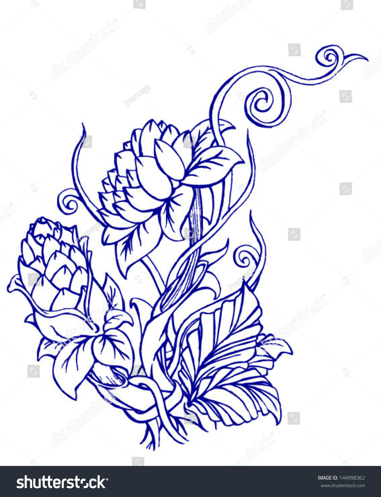 Bouquet Simple Roses Drawing Stock Vector 144998362 - Shutterstock