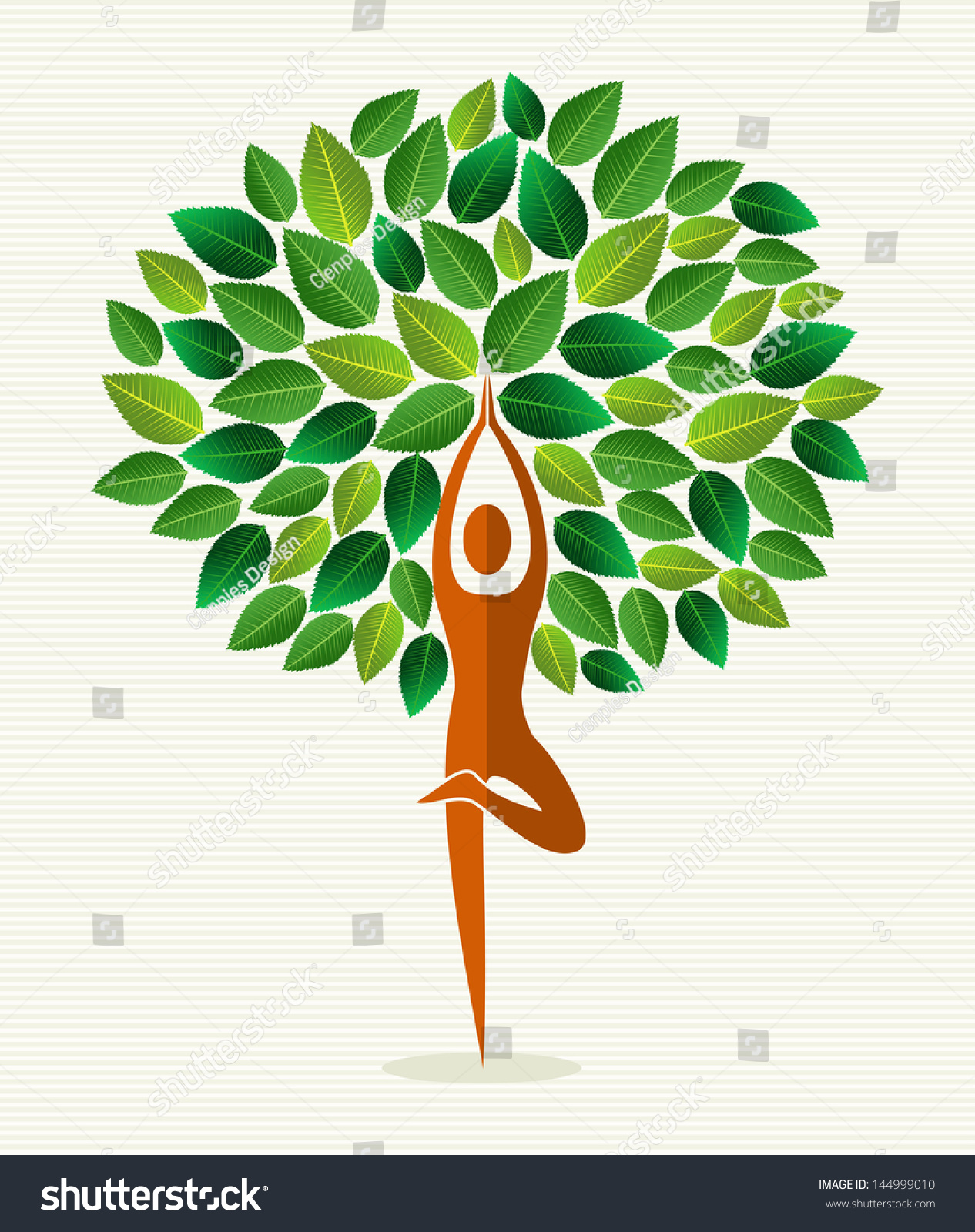 Human Shape Yoga Exercise Tree Design Stock Photo (Photo, Vector ...