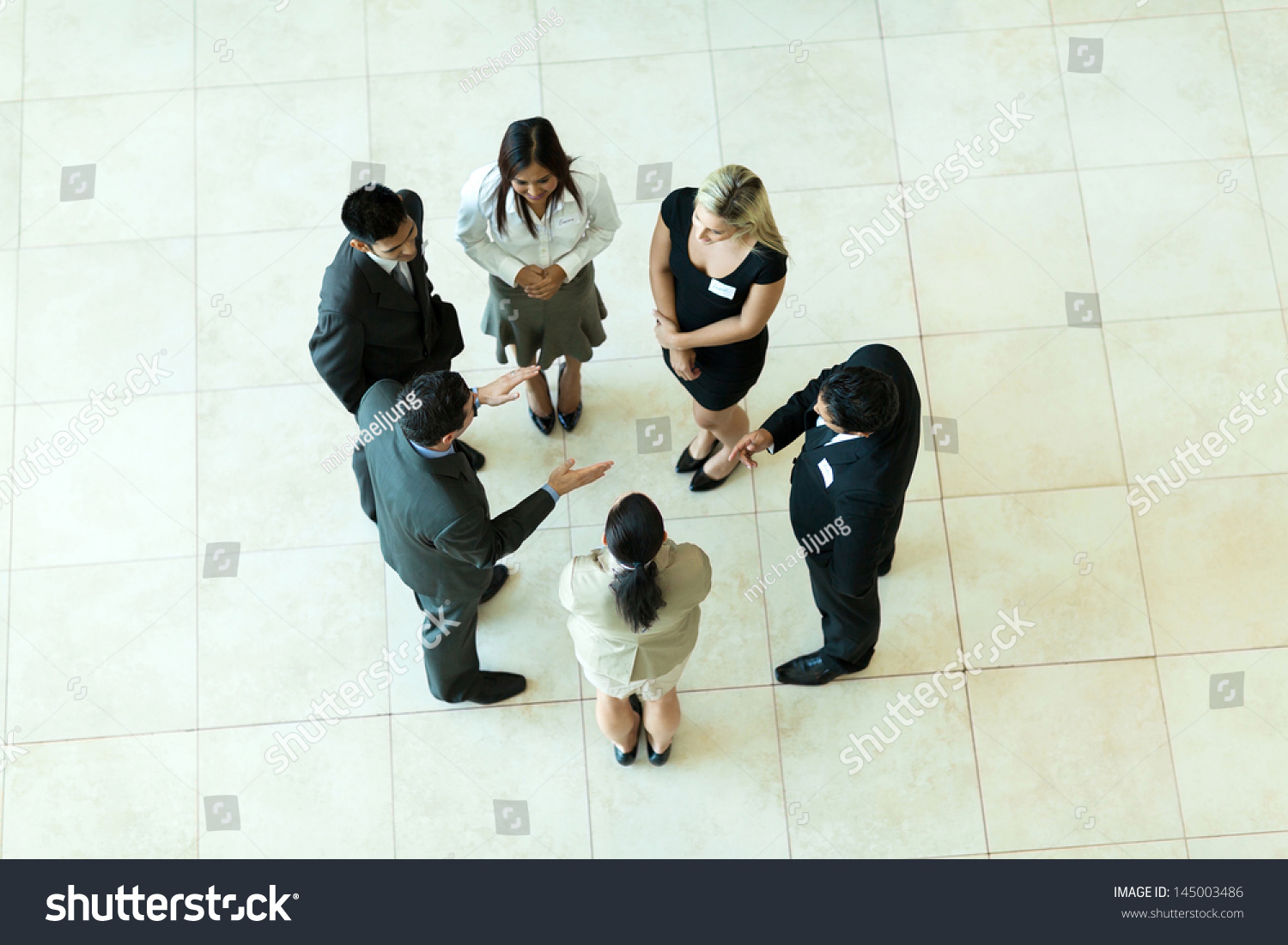 Overhead View People Having Business Meeting Stock Photo