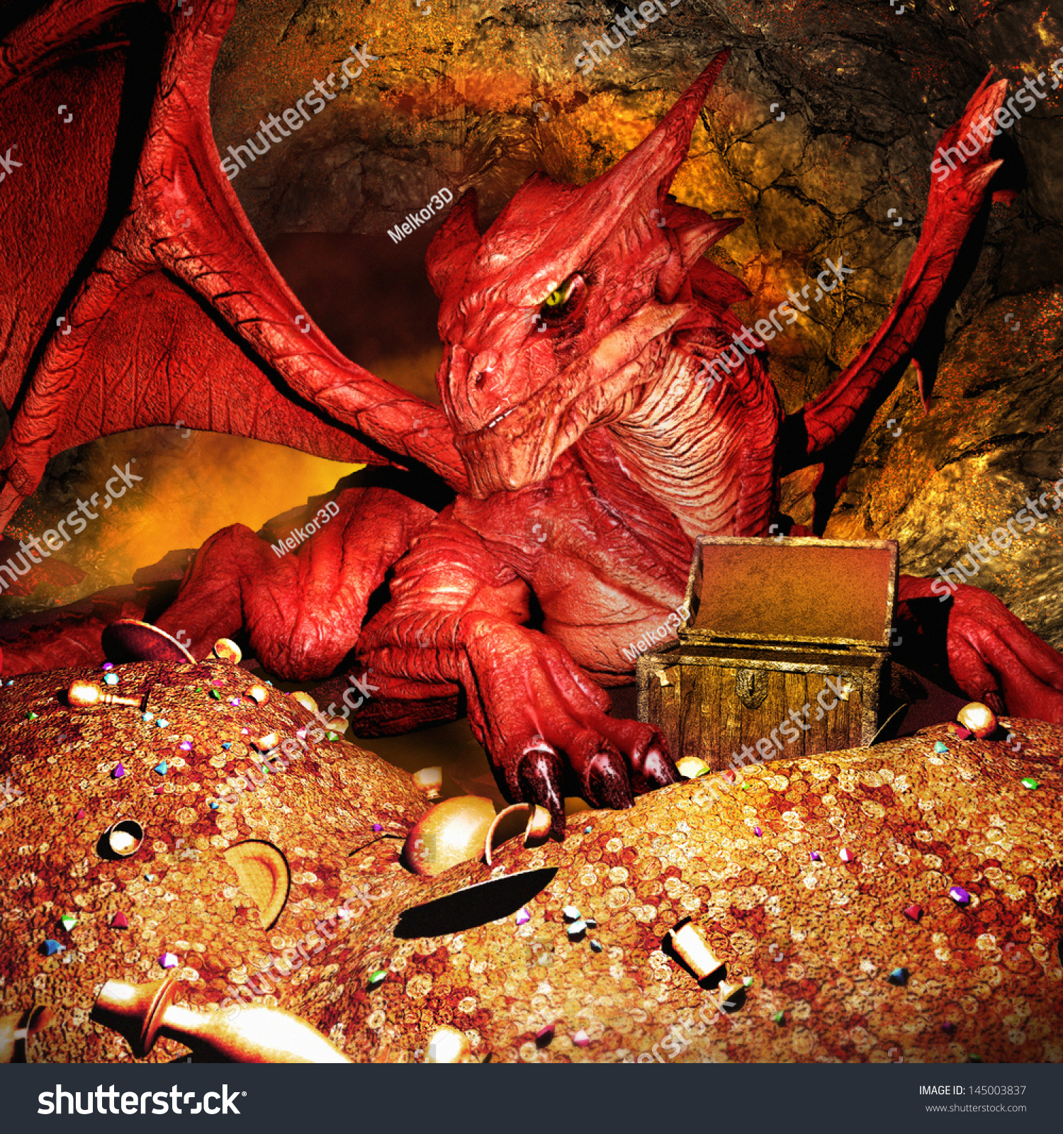 red dragon guarding treasure stock illustration 145003837