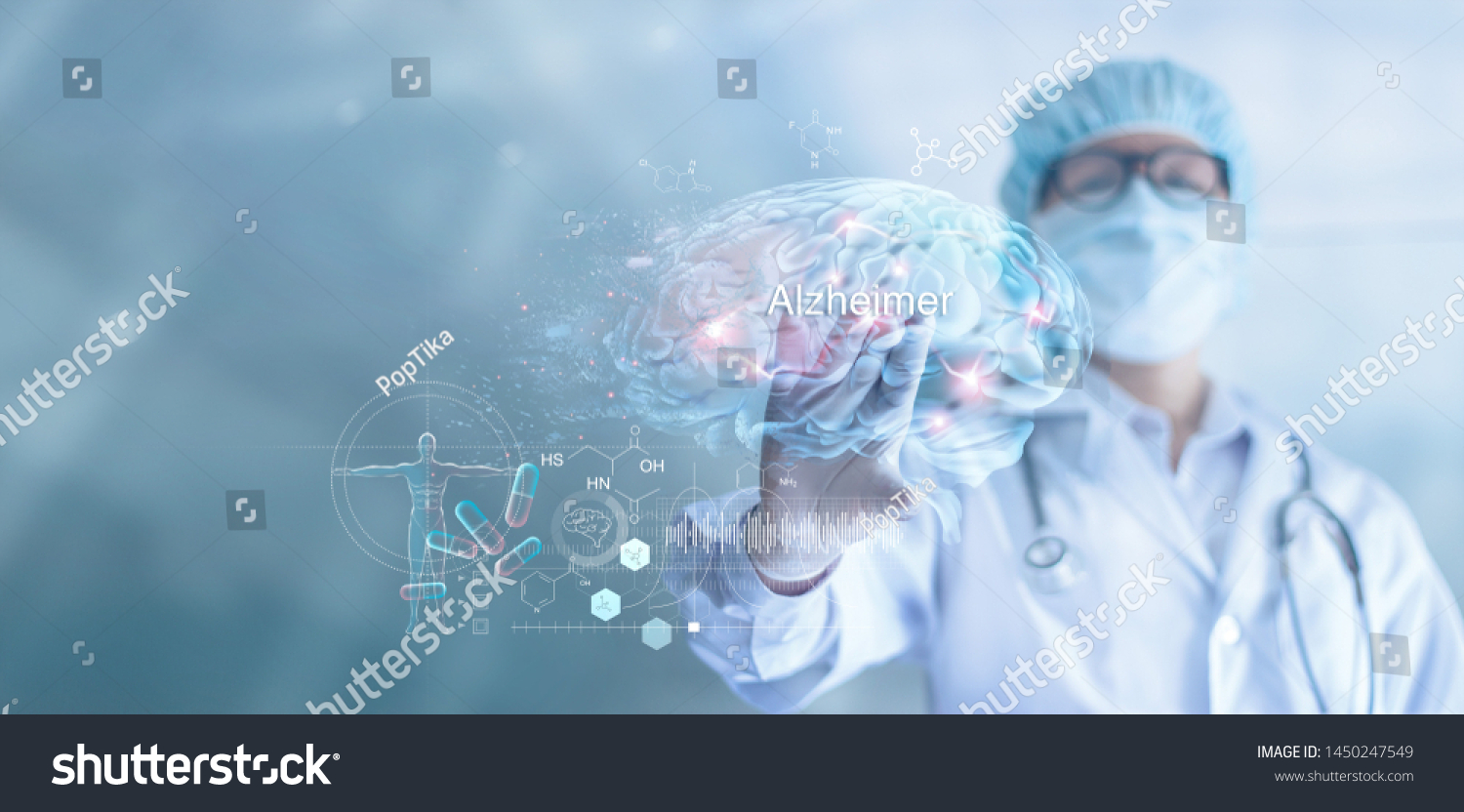 Abstract, Doctor checking and analysis alzheimer's disease and dementia of brain, testing result on virtual interface, innovative technology in science and medicine concept #1450247549