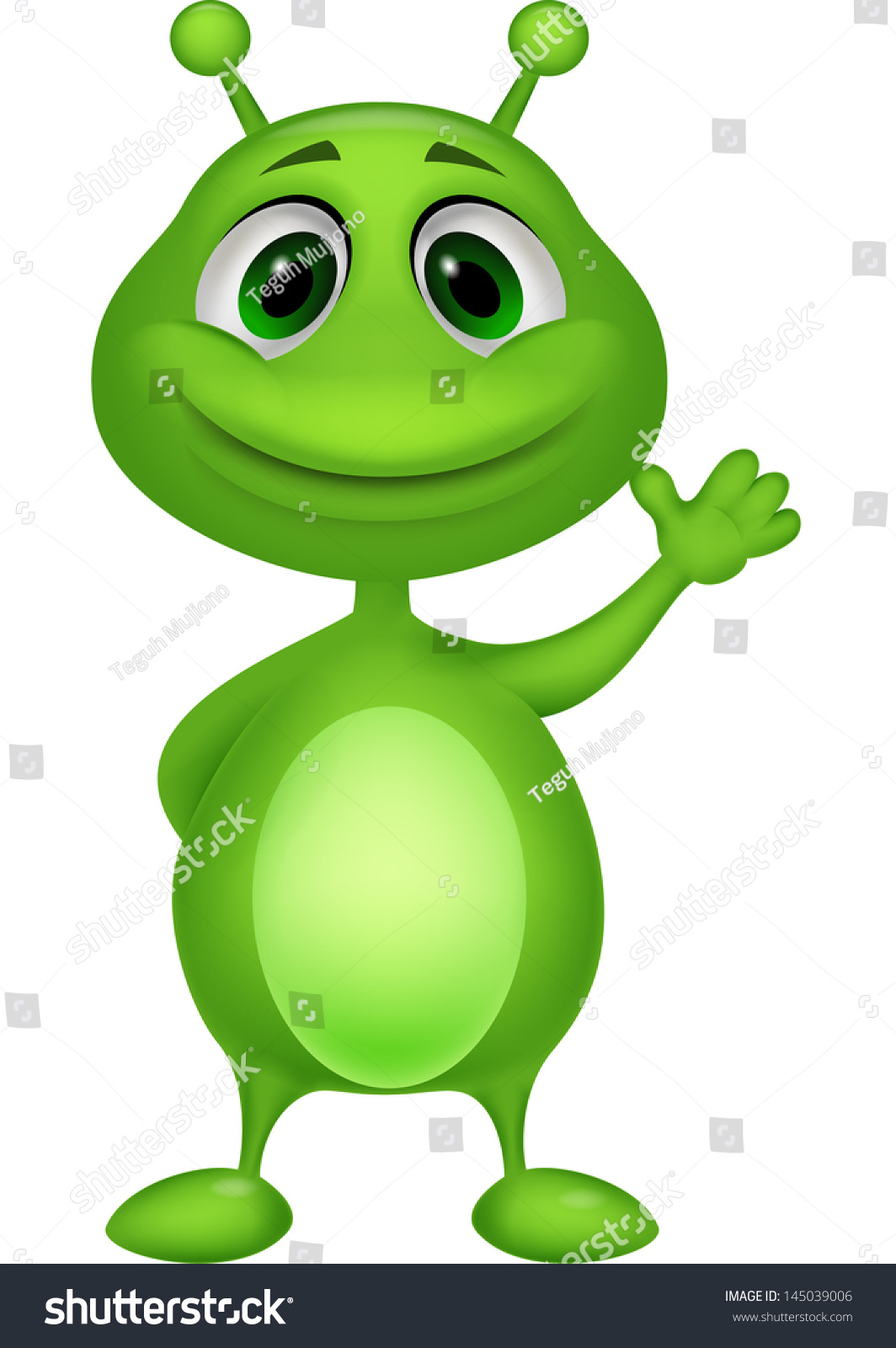 cute green alien cartoon stock vector 145039006 shutterstock