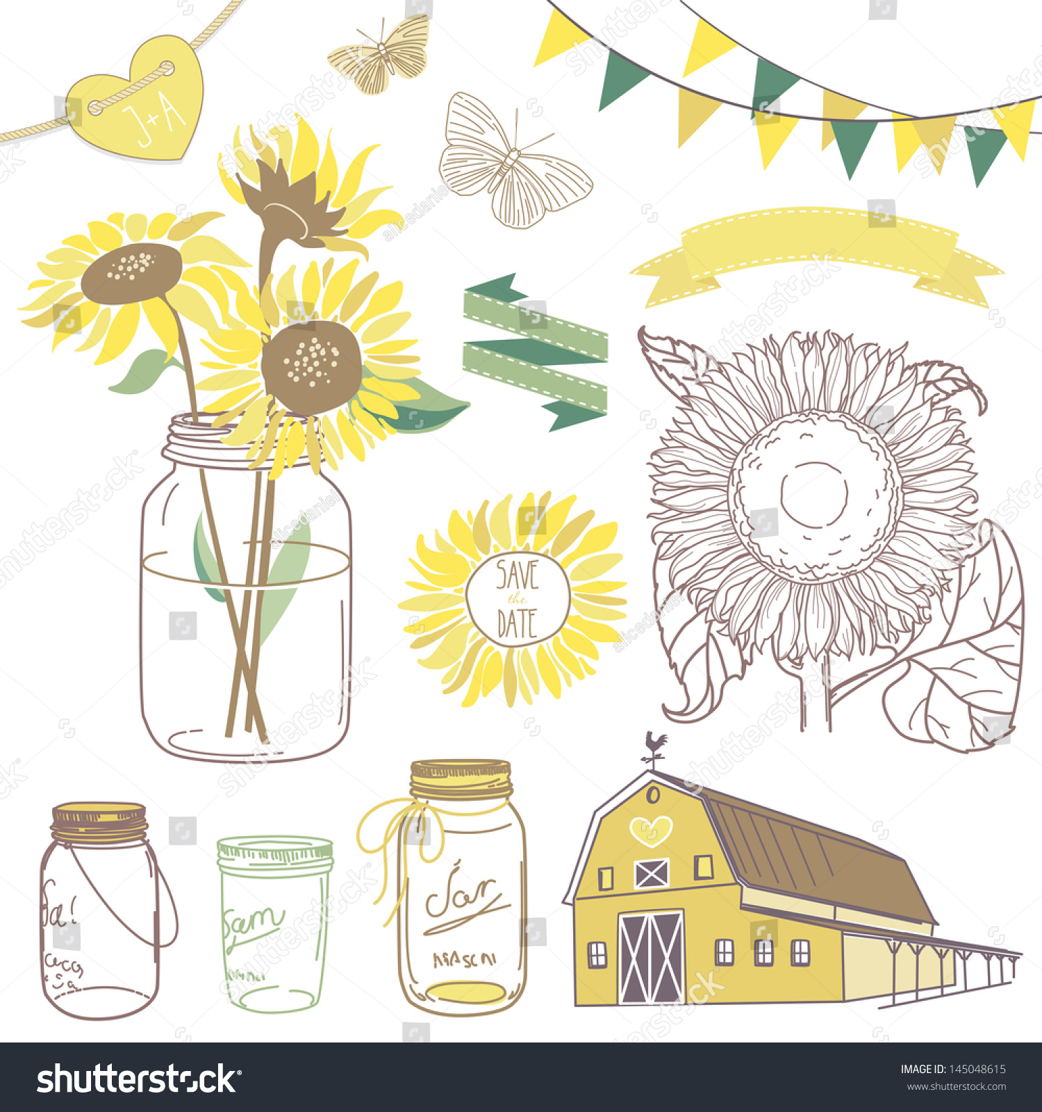 Glass Jars Sunflowers Ribbons Bunting Butterflies And Cute Rustic Barn Ideal