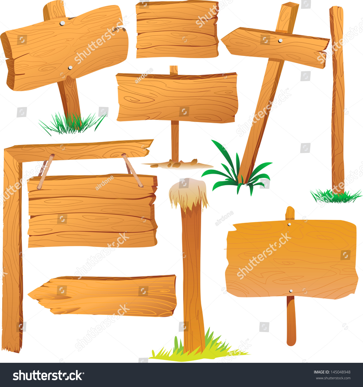Wooden sign boards cartoon style stock vector