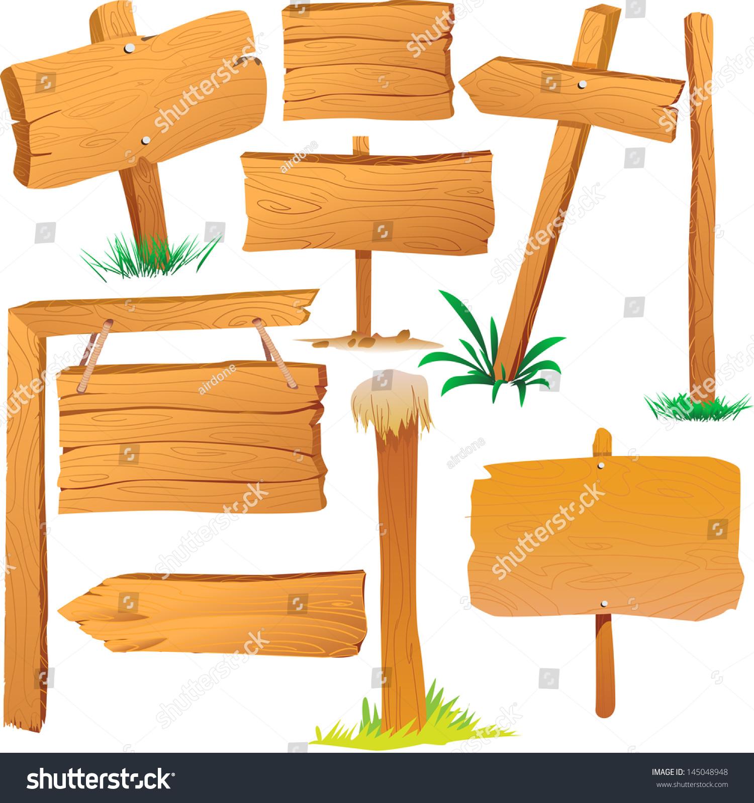 Cartoon Wood Board ~ Wooden sign boards cartoon style stock vector