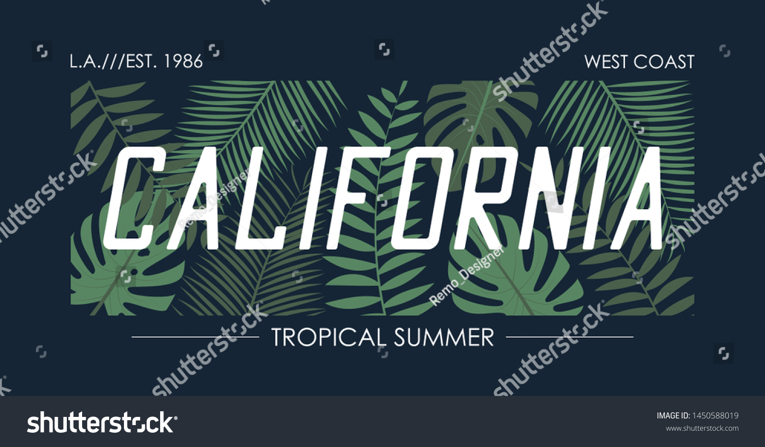 California Slogan T Shirt Tropical Leaves Stock Vector Royalty Free 1450588019 Branded t shirts fashion brands palm tropical leaves plants mens tops stuff to buy flora. shutterstock