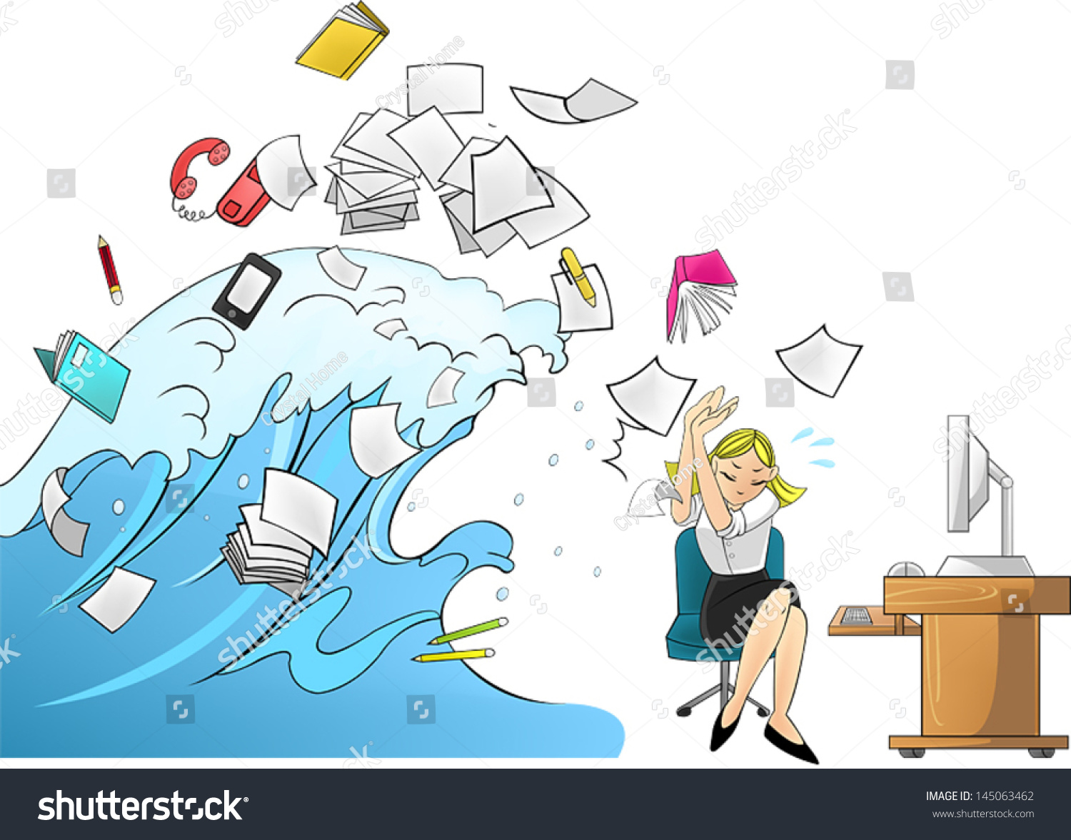 Tidal Wave Tsunami Workload Office Tools Stock Vector ...