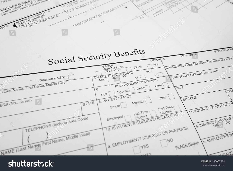 Stock Photo Closeup Of A Social Security Benefits Form 145067734