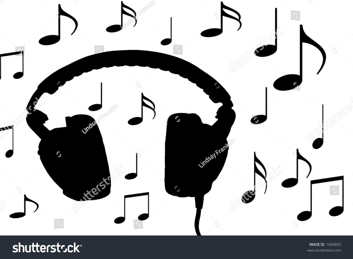 Headphones Music Notes: Headphones And Musical Notes Stock Photo 1450693