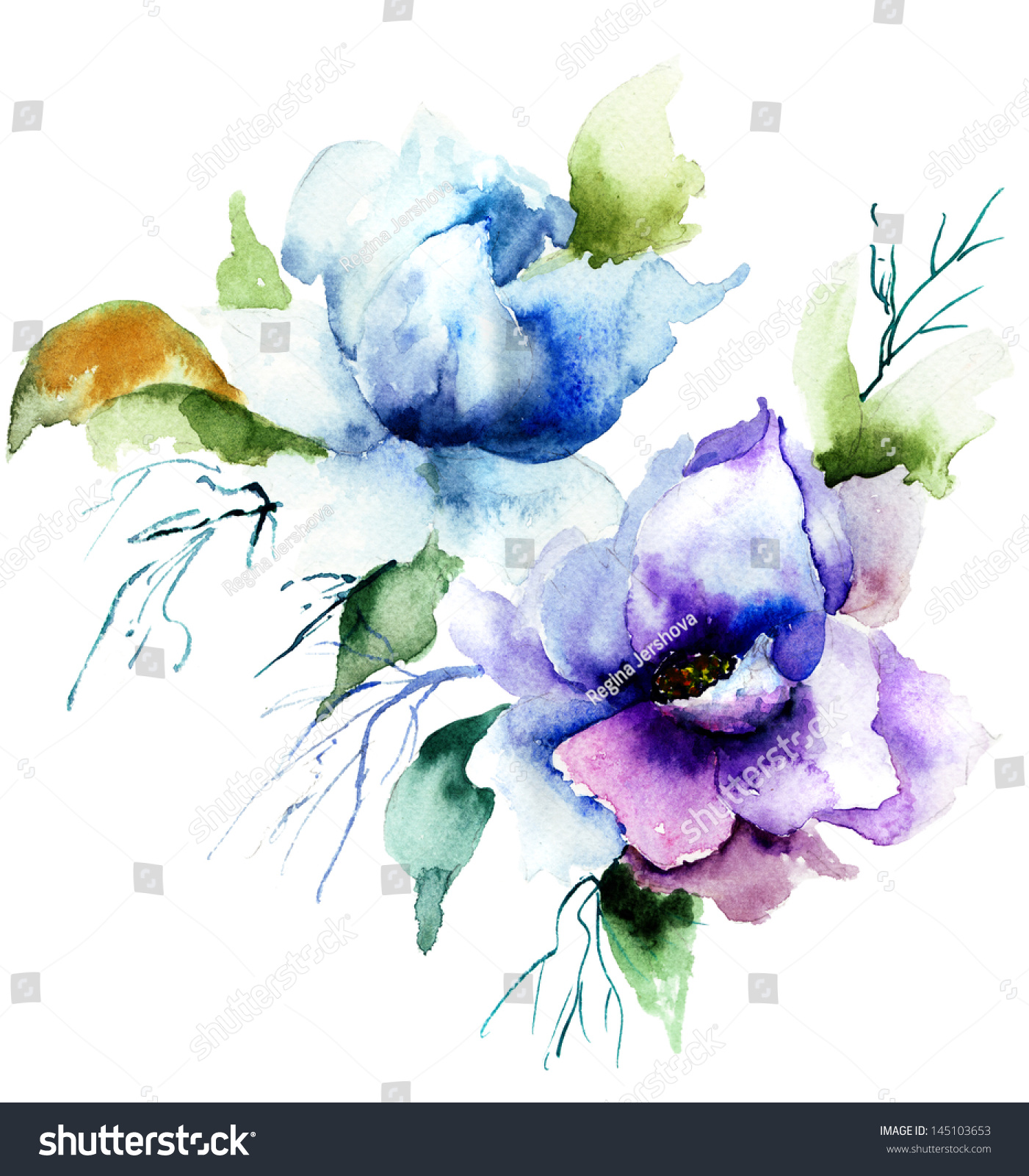 Beautiful blue flower watercolor painting stock for Pretty flower paintings