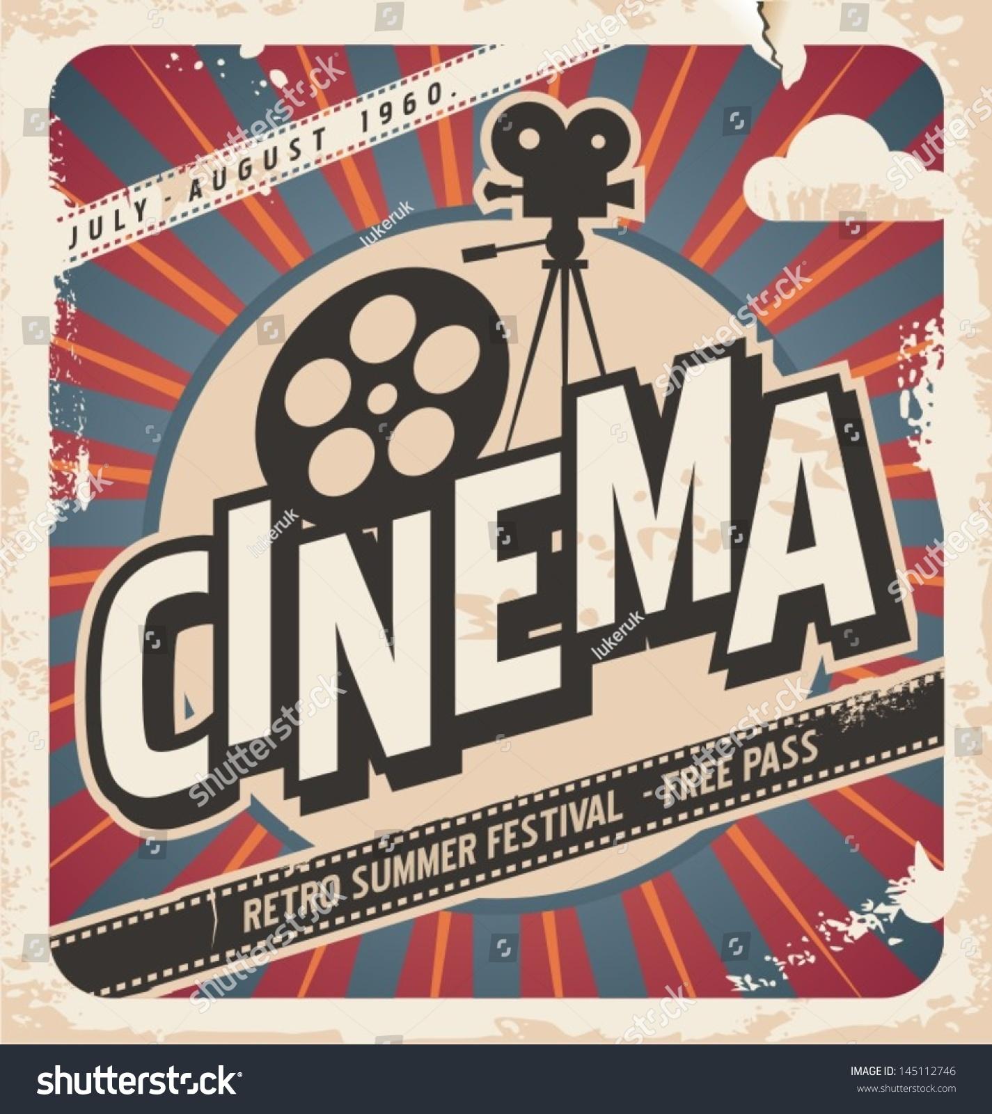 Retro Cinema Poster Vector Movie Ad Stock Vector 145112746   Shutterstock