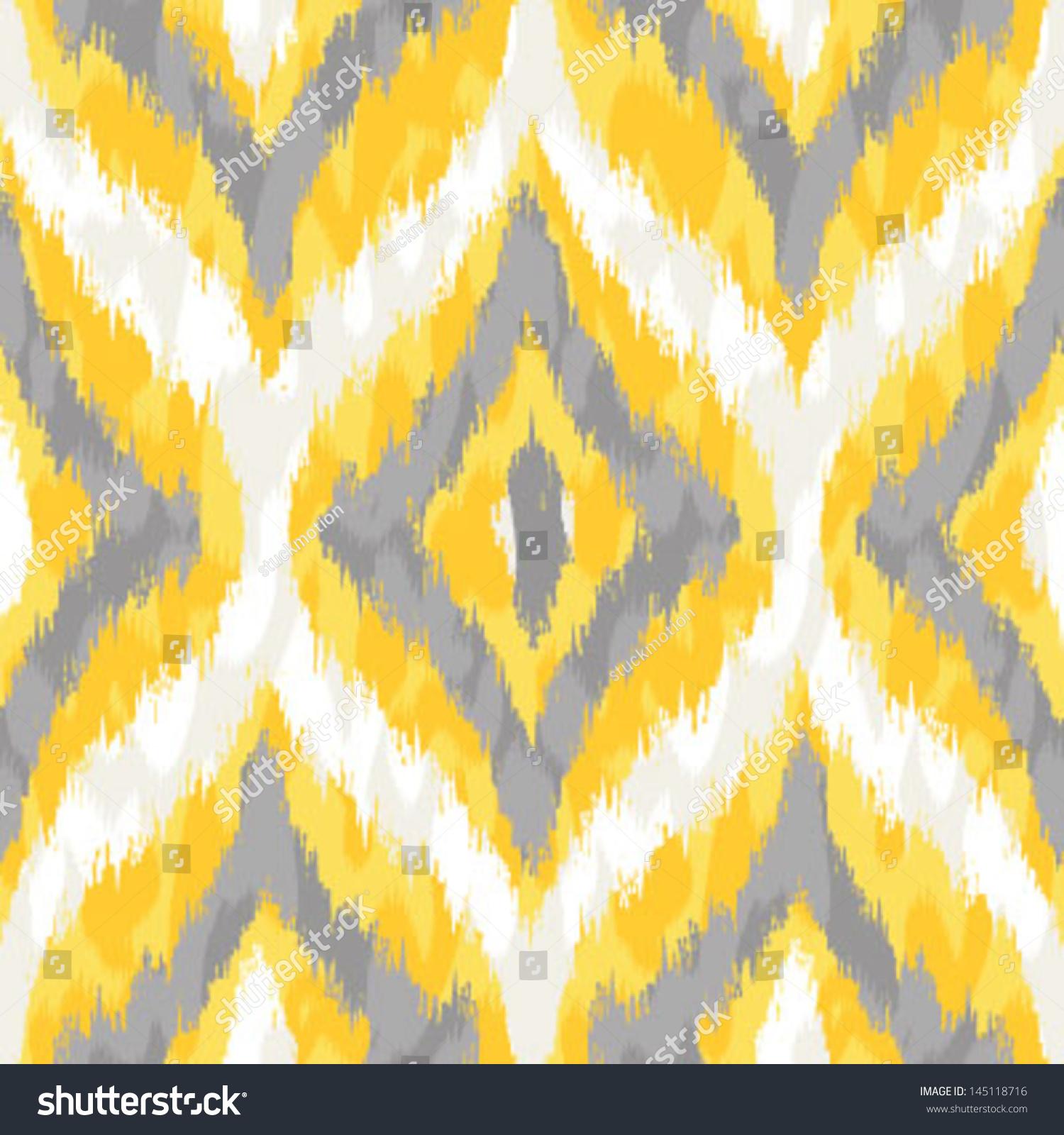 Yellow Gray Wild Ikat ...