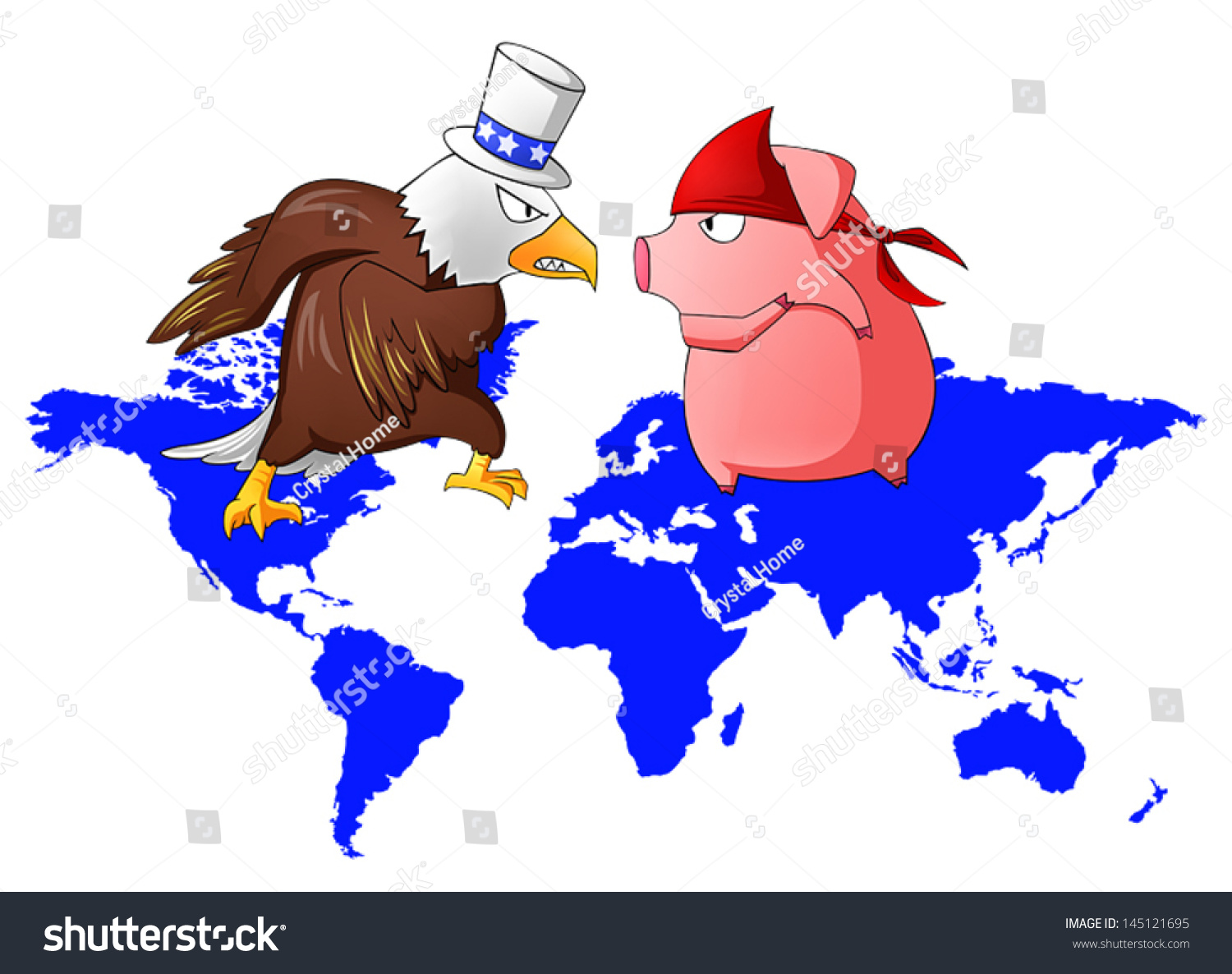 Cartoon parody giant eagle red pig vectores en stock 145121695 cartoon parody of giant eagle and red pig is fighting above the world map continent from gumiabroncs Choice Image
