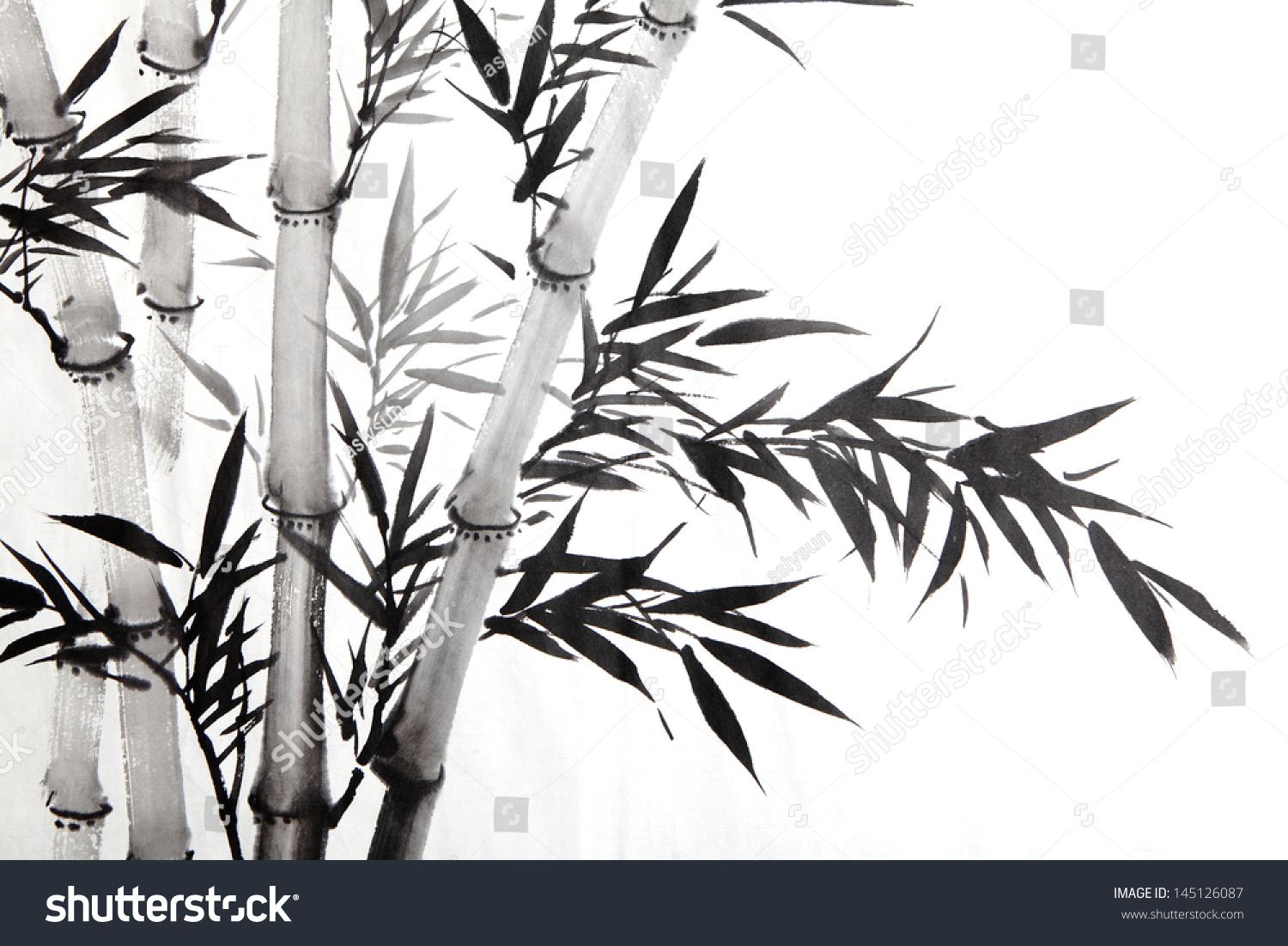 Bamboo Leaf Traditional Chinese Calligraphy Art Stock