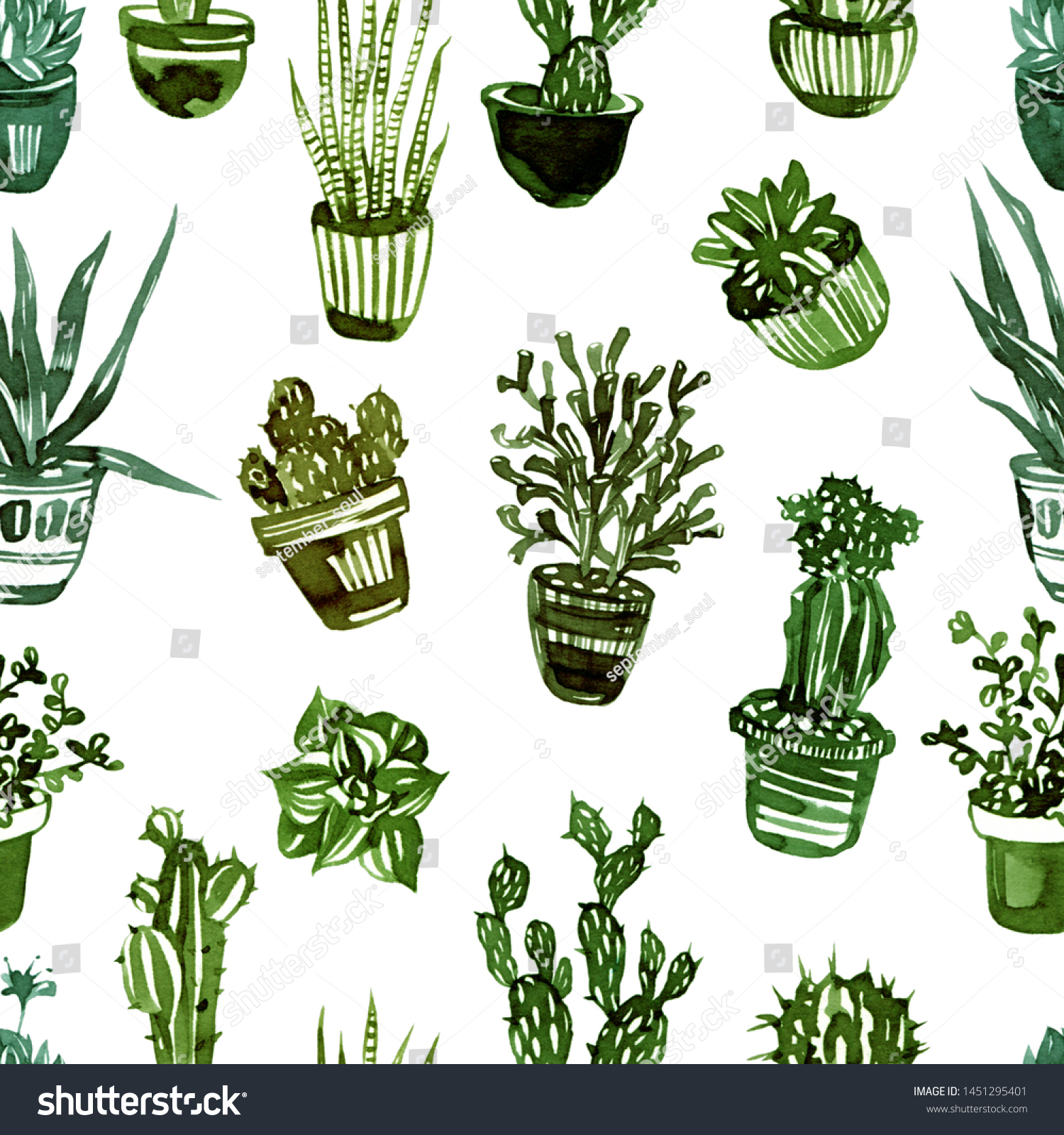 Hand Drawn Pattern Different Types Succulents Stock Illustration 1451295401