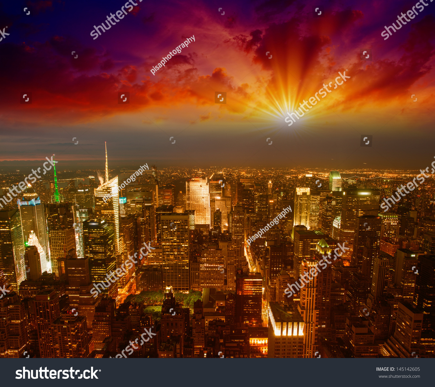 Sunset Empire Transportation Schedule Stock Photo Manhattan Nyc Spectacular Sunset View Of