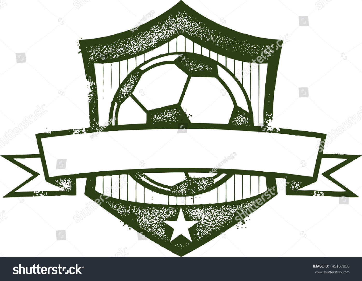 Vintage Soccer Football Crest With Blank Banner