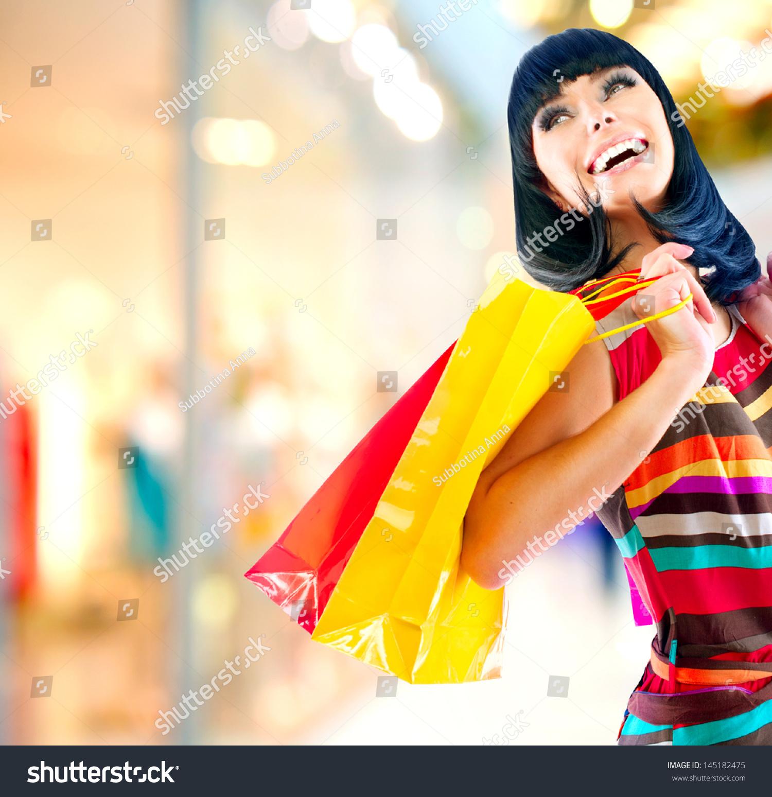 Fashion Shopping Girl Portrait Beauty Woman Stock Photo