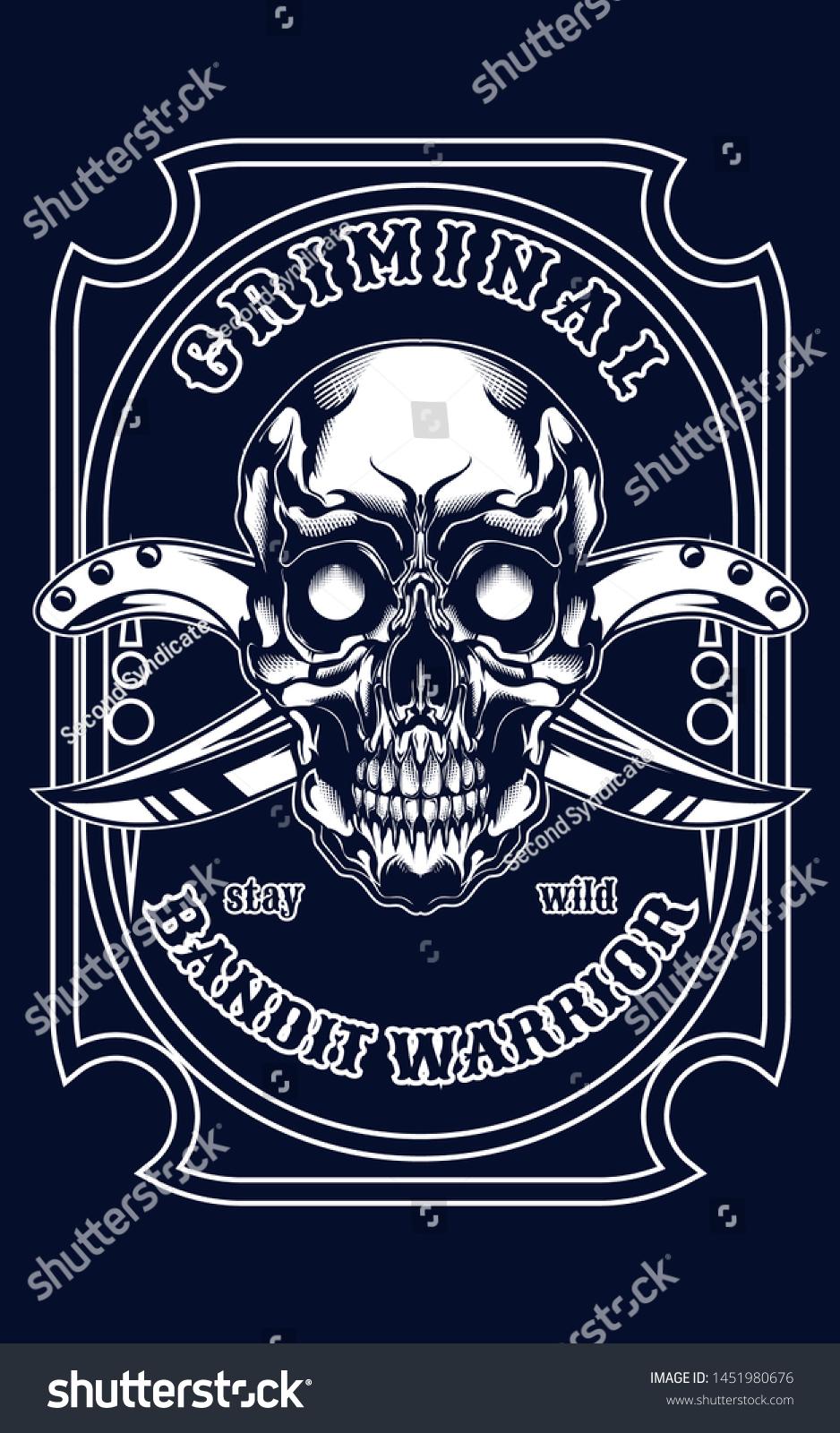 Mafia Skull Logo Illustration Tshirt Design Stock Vector
