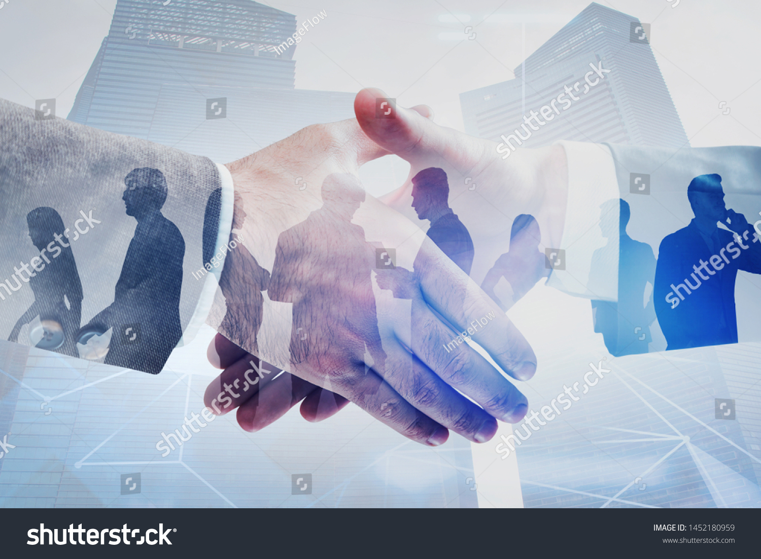 Close up of two businessmen shaking hands in modern city with double exposure of business people and network interface. Concept of connection and partnership. Toned image #1452180959