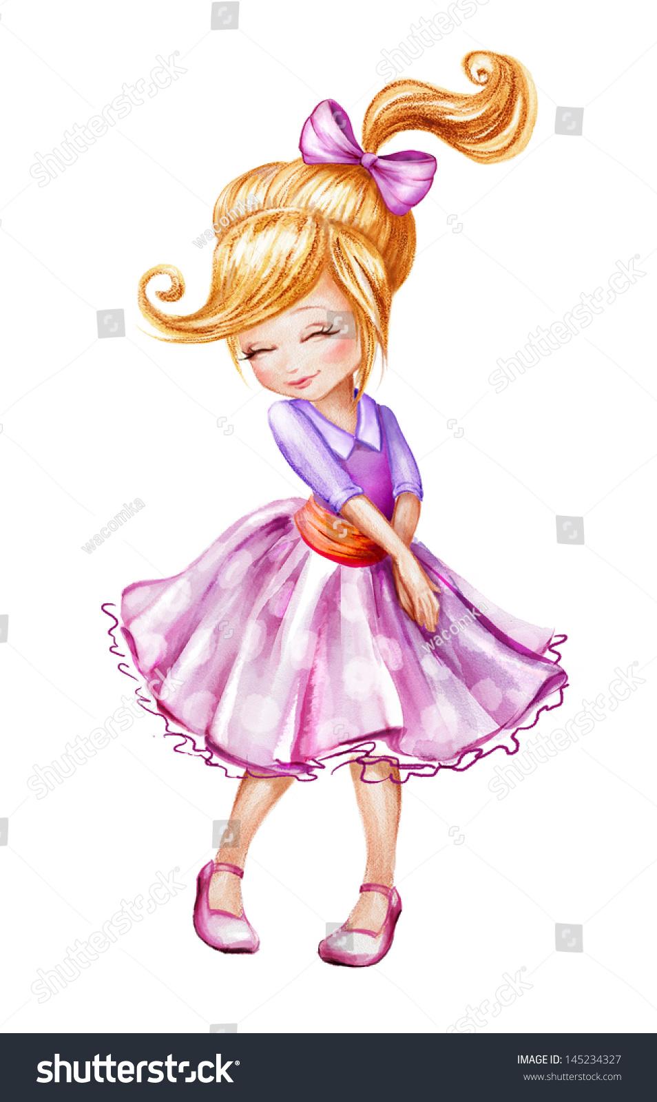 cute beautiful shy little girl cartoon stock illustration 145234327