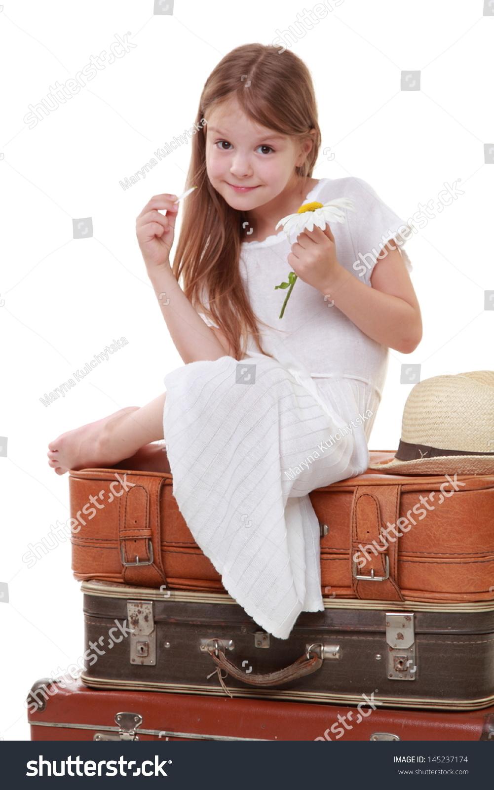 Caucasian Beautiful Little Girl White Dress Stock Photo ...