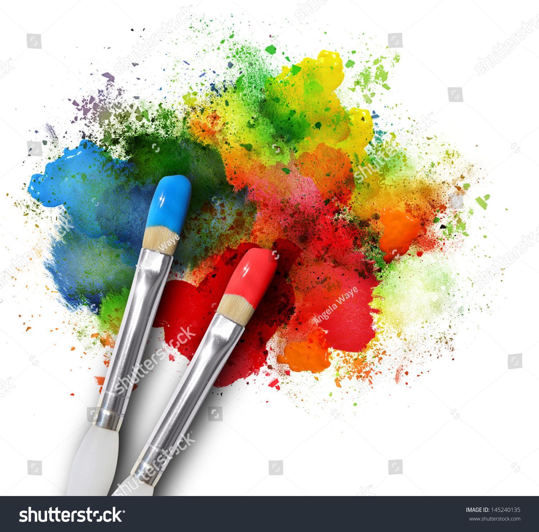 Two Paintbrushes Painting Rainbow Splattered Art Stock