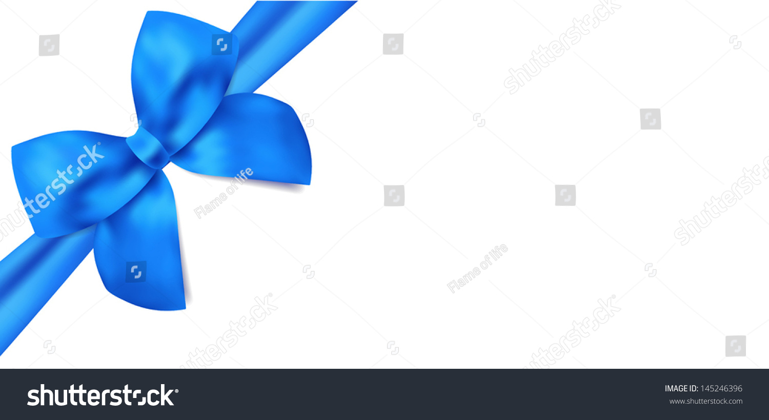 Gift certificate / Voucher template with isolated blue bow (ribbons ...