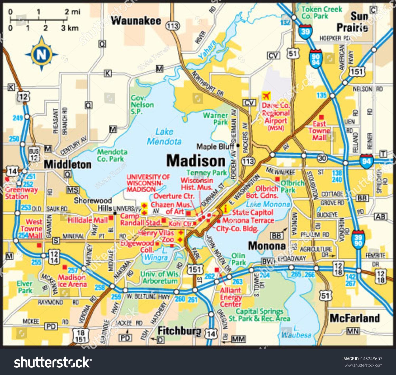 Madison Wisconsin Area Map Stock Vector 145248607 Shutterstock