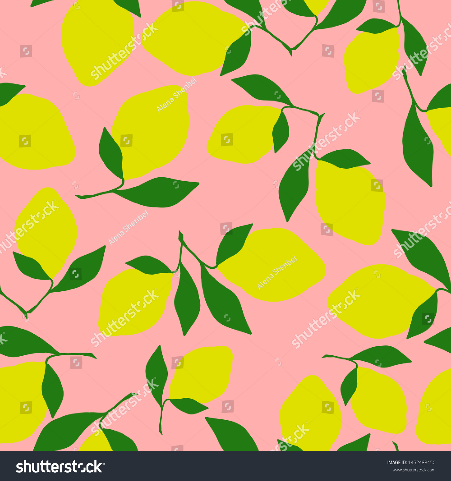 Simple Lemon Pattern Pink Coral Background Stock Vector Royalty