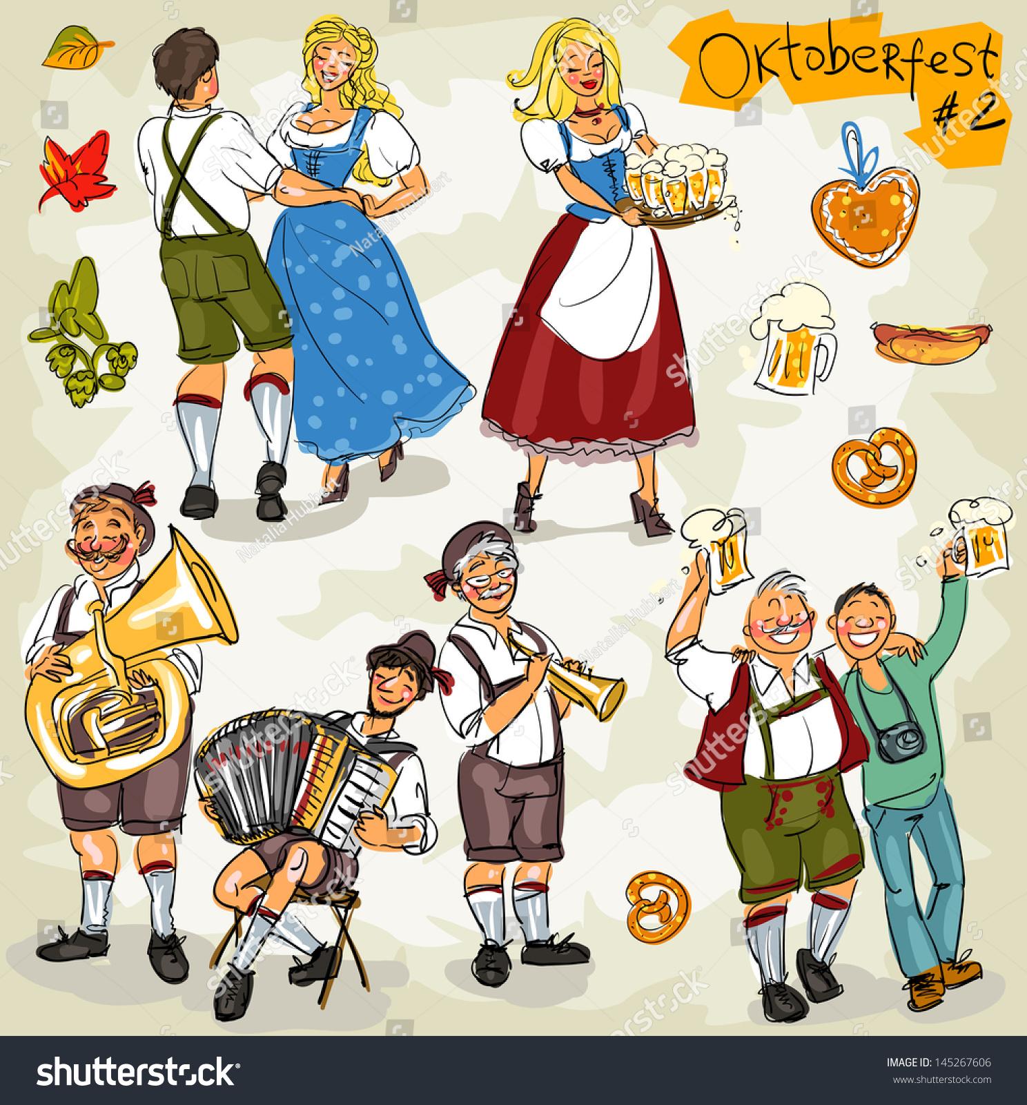 Oktoberfest Hand Drawn Clip Art Collection Stock Vector 145267606 ...