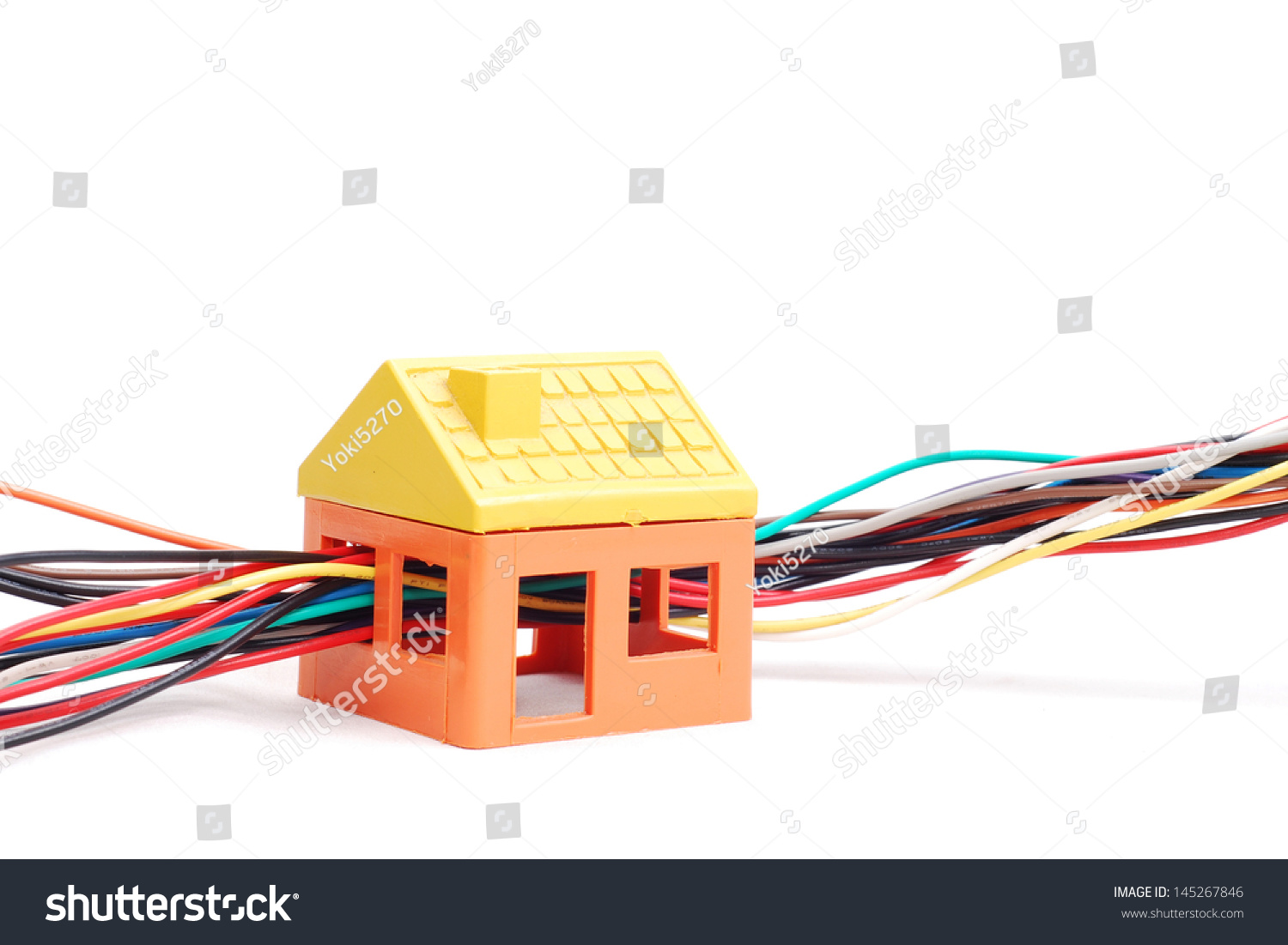 electric wires string through the model house