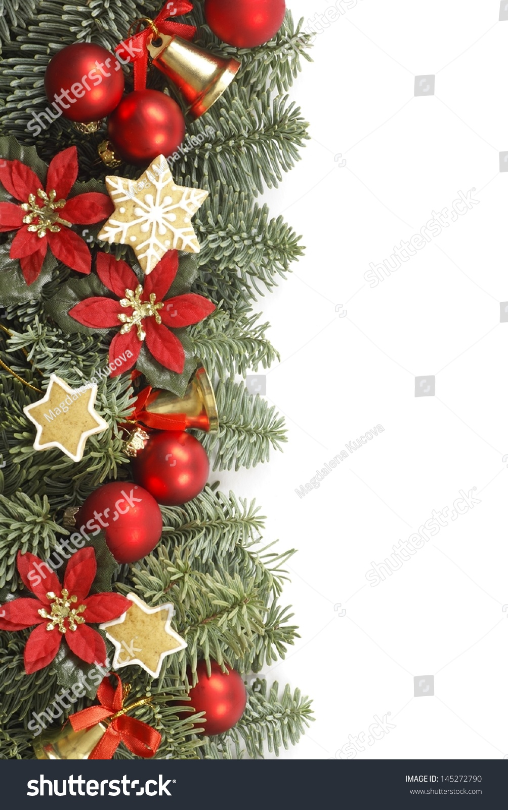 Holiday frame christmas tree branches decorations stock