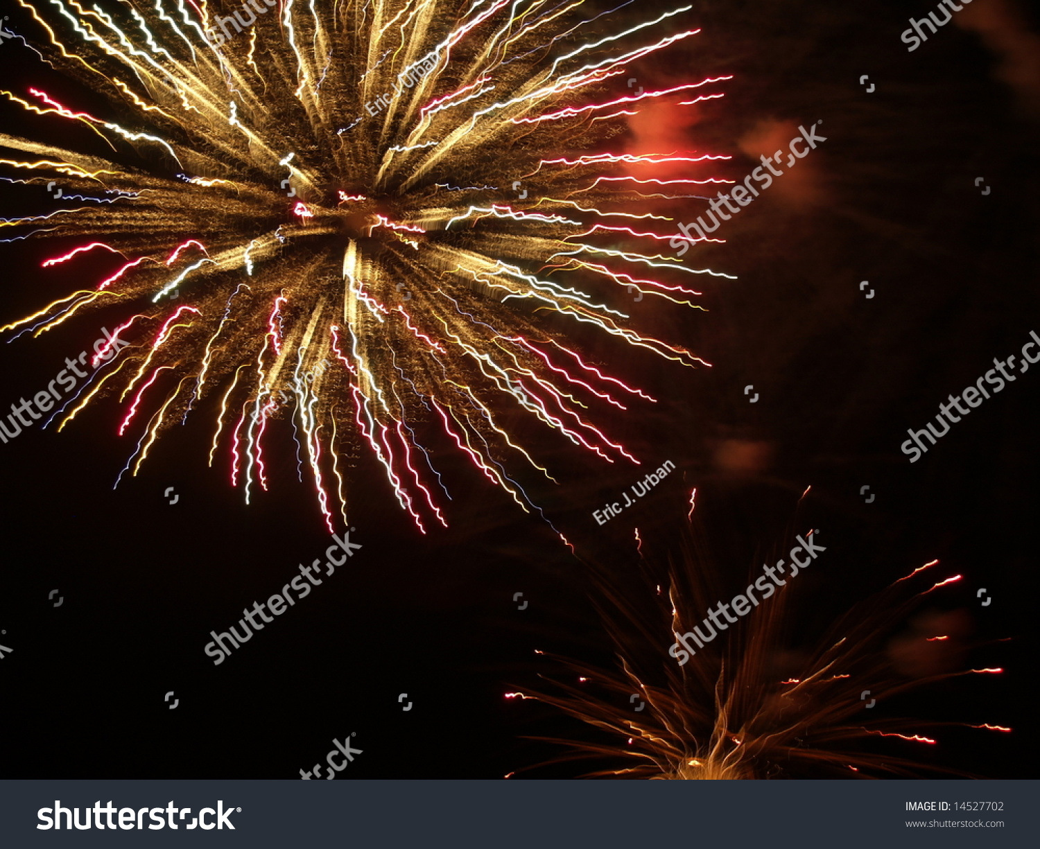 Red Fireworks Free Stock Photo: Yellow And Red Fireworks, Off Center Stock Photo 14527702
