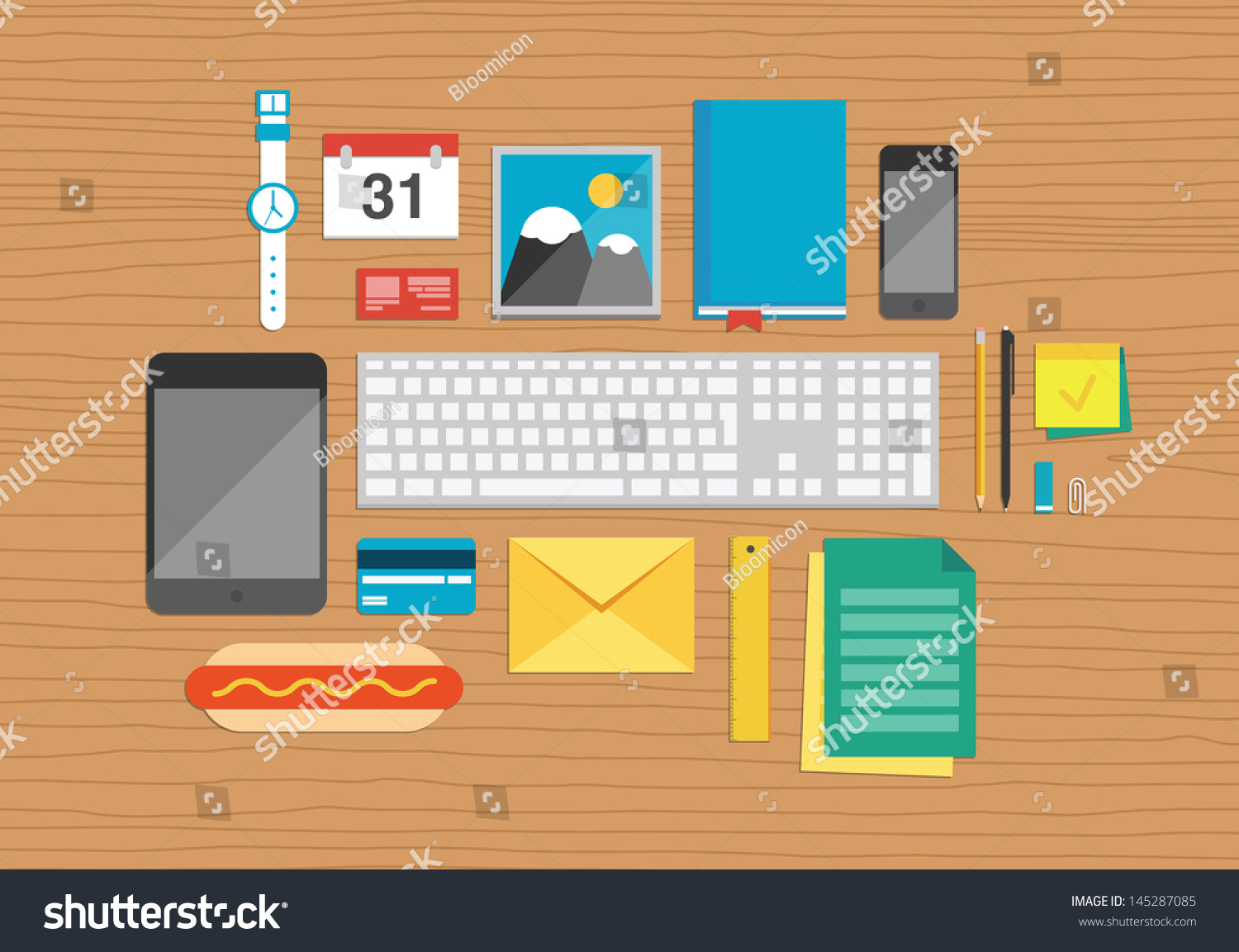 Vector illustration set office business work stock vector - How to organize your desk at home for school ...