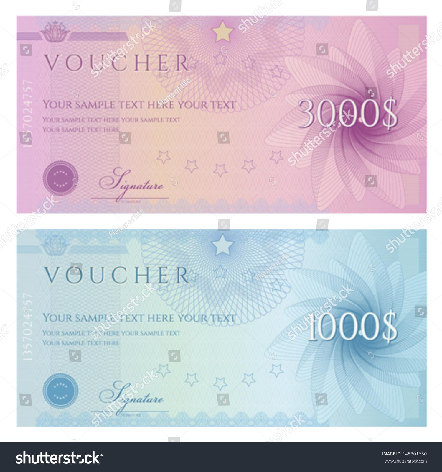 Gift Certificate Voucher Coupon Template Guilloche Vector – Money Voucher Template