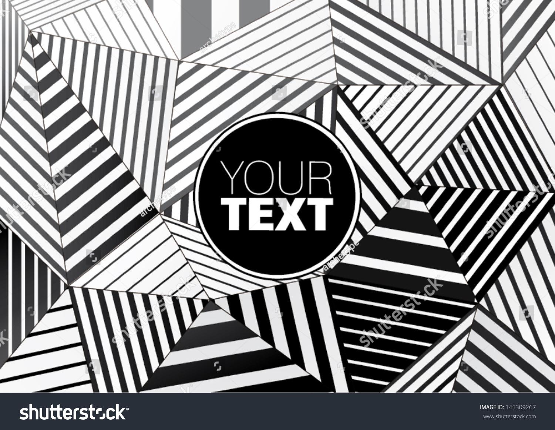 background black white striped triangles graphic stock
