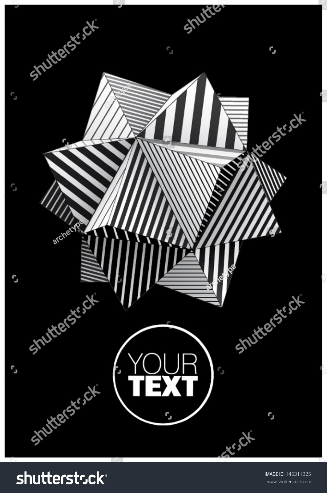 Polyhedron Black White Striped Faces Poster Stock Vector