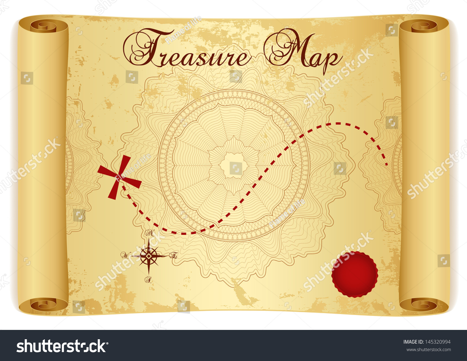 Treasure Map On Old Vintage Antique Stock Illustration ...