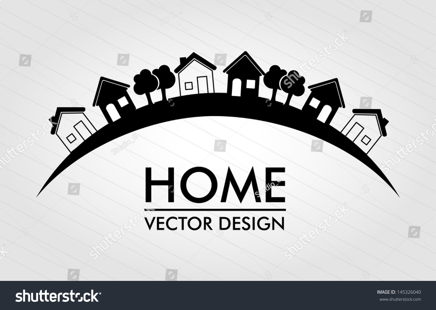 Home Design Over Lines Background Vector Stock Vector 145326040 ...