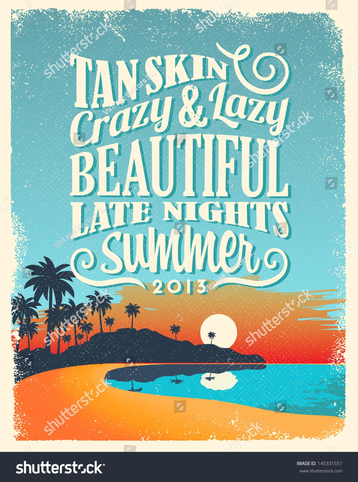 Poster design vintage - Retro Vintage Summer Poster Design With Typography