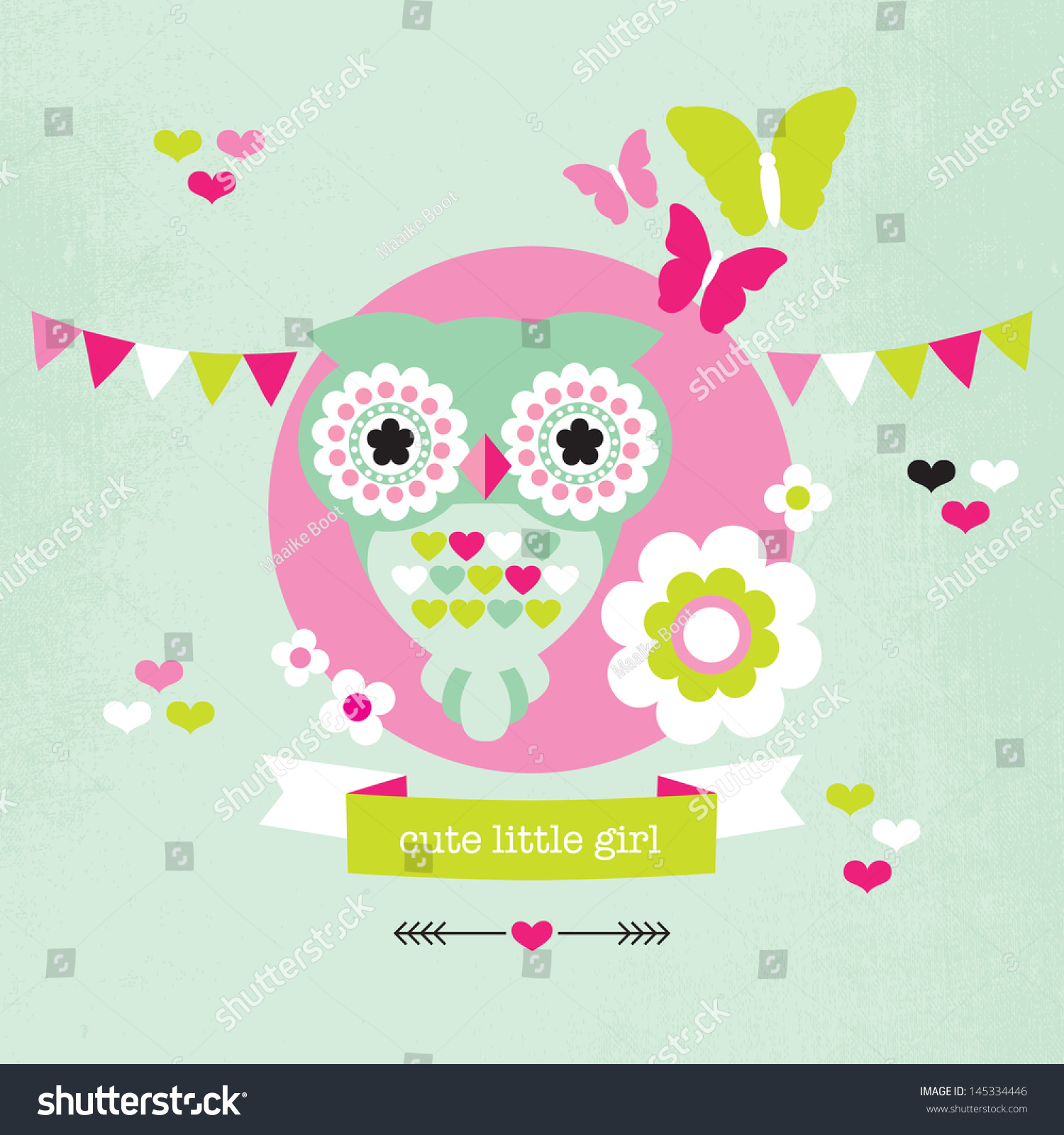 Cute Pastel Owl Butterfly Illustration Baby Vector 145334446 – Baby Girl Birth Announcement Template