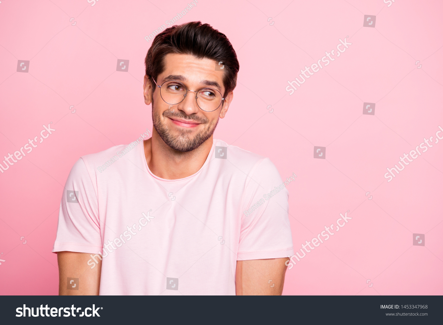Close-up portrait of his he nice attractive lovely cheerful cheery intelligent shy guy wearing specs don't know what to do isolated over pink pastel background #1453347968