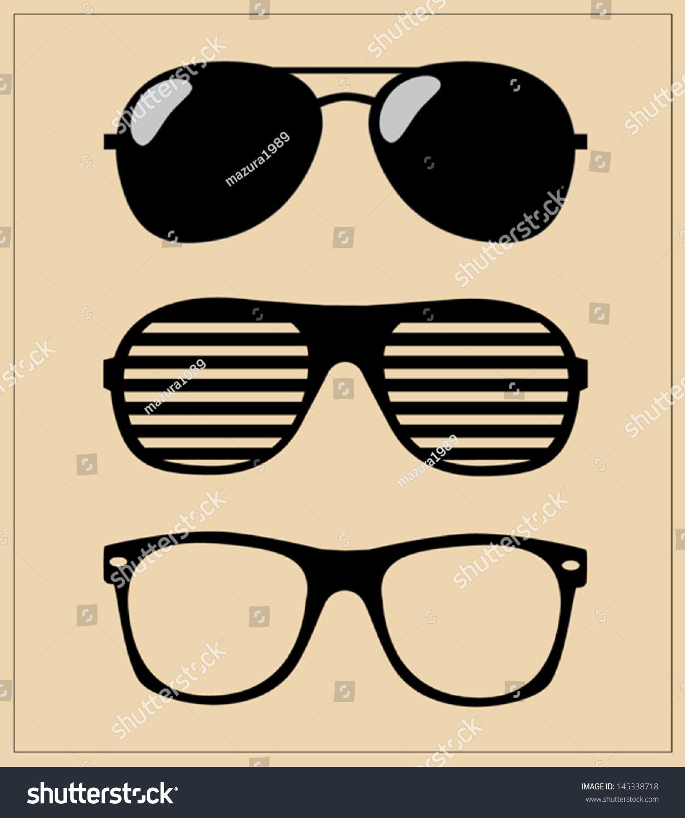 Set Sunglasses Vector Illustration Glasses Hipster Stock Vector