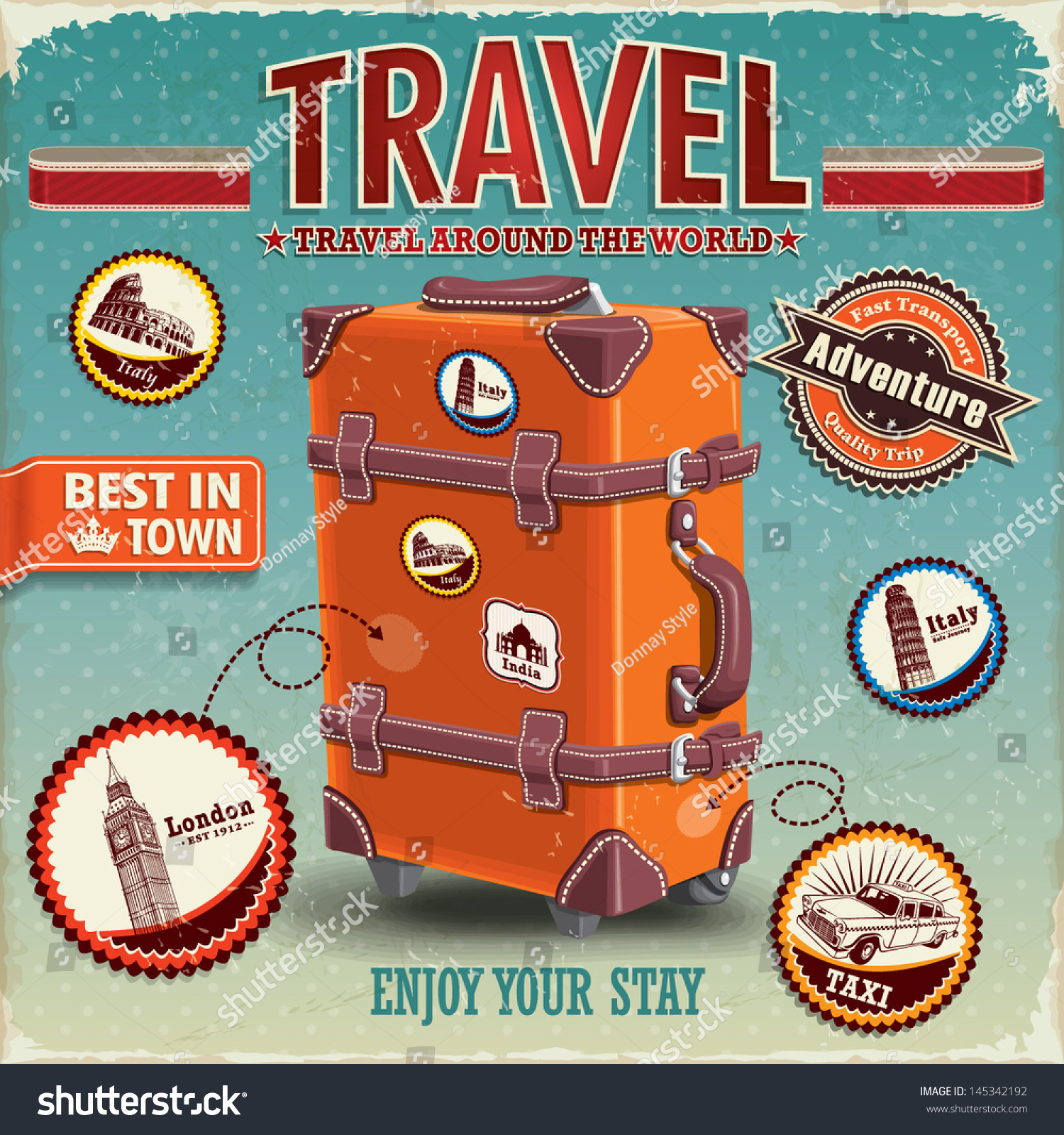 Vintage Travel Trailers: Vintage Travel Luggage Poster Labels Stock Vector